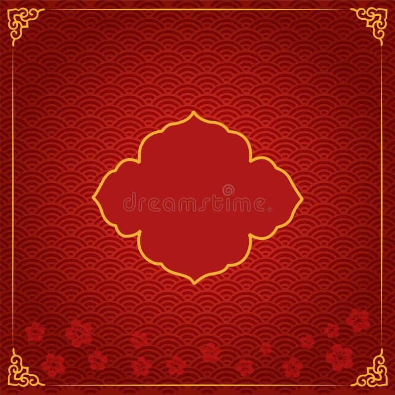 Шаблон китайского Нового Года традиционный с красным цветом бесплатная иллюстрация