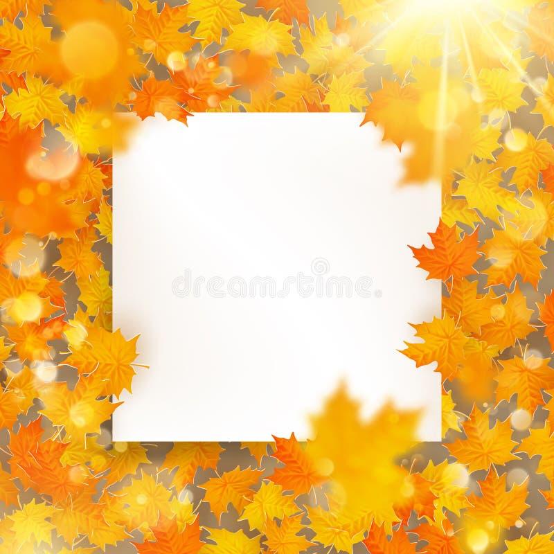 Шаблон кленовых листов осени с картой белой бумаги 10 eps бесплатная иллюстрация