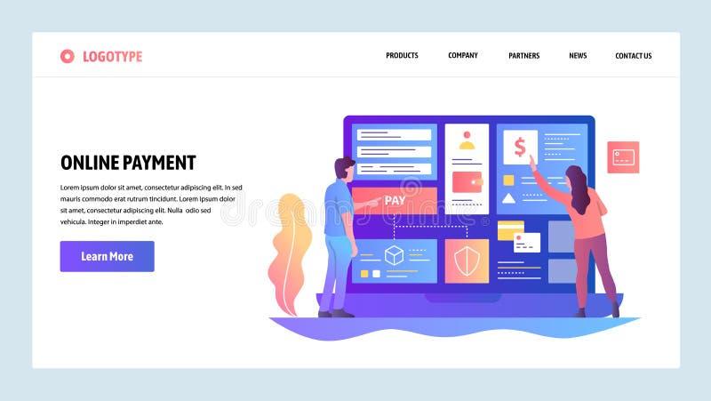 Шаблон конструкции вебсайта вектора Онлайн покупки и оплата и передача денег интернета цифровые Концепции страницы посадки иллюстрация вектора