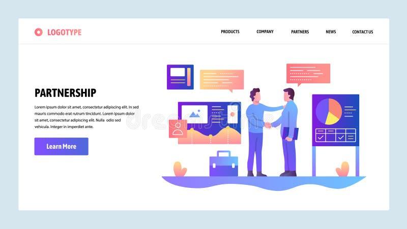 Шаблон конструкции вебсайта вектора партнерство дела Бизнесмены отрезали дело с диаграммами финансов на предпосылке посадка иллюстрация штока
