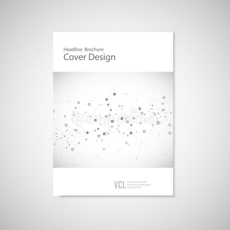 Шаблон крышки брошюры для соединяется, сеть, здравоохранение, наука и техника иллюстрация вектора