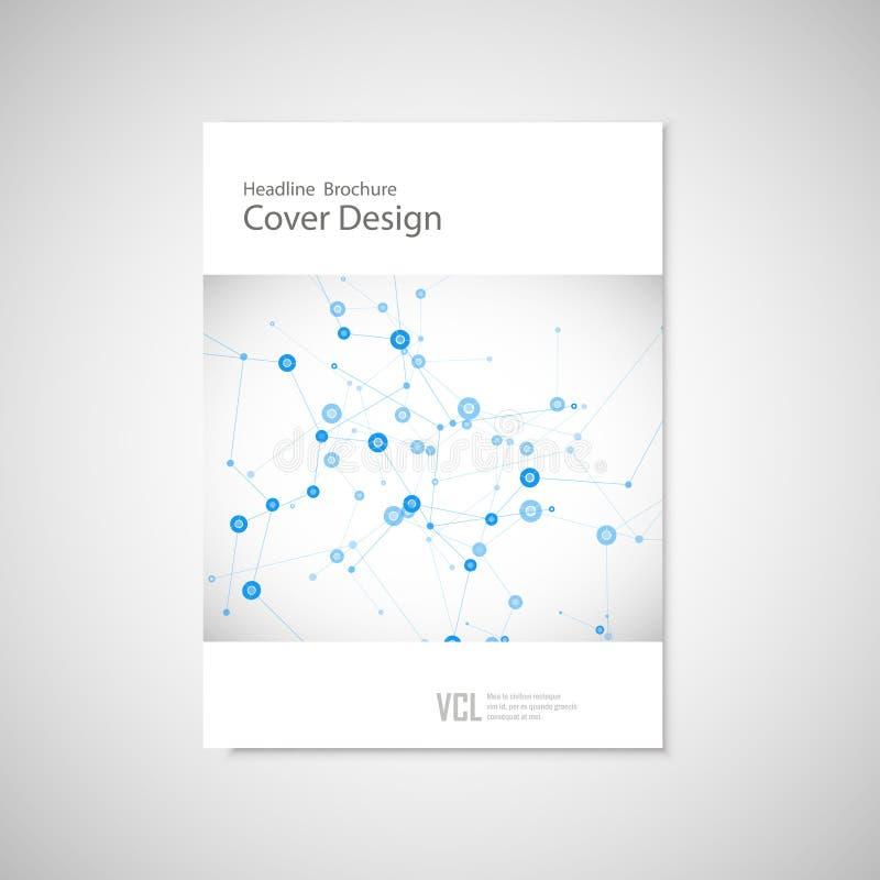 Шаблон крышки брошюры для соединяется, сеть, здравоохранение, наука и техника иллюстрация штока