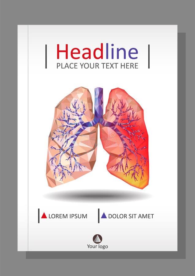 Шаблон крышки для книг, знамя, журнал Больное человеческое реалистическое иллюстрация вектора