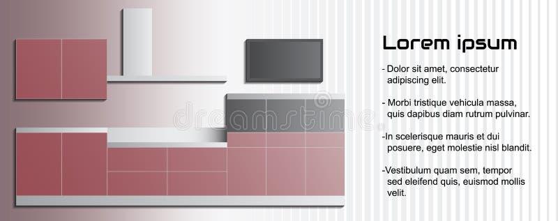 Шаблон кухни вектора внутренний с космосом текста Современную предпосылку для дела мебели можно использовать как рогулька, листов бесплатная иллюстрация
