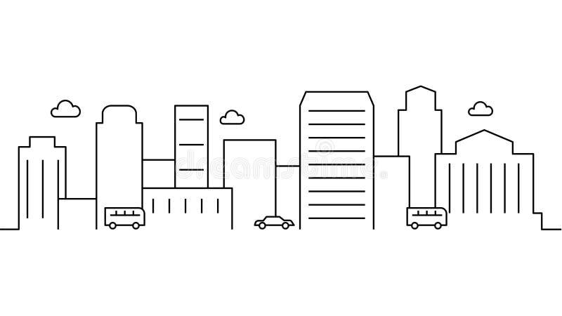 Шаблон ландшафта города Тонкая линия ландшафт города Городской пейзаж, автомобили изолировал иллюстрацию плана Иллюстрация вектор бесплатная иллюстрация