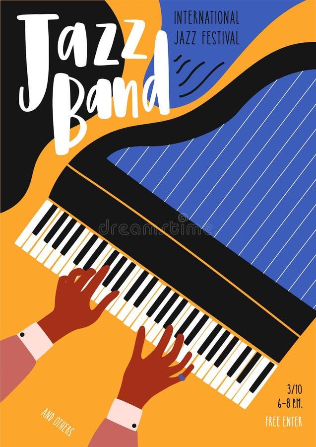 Шаблон летчика или плаката для джазового фестиваля, концерта, представления музыки с руками пианиста играя рояль и иллюстрация штока