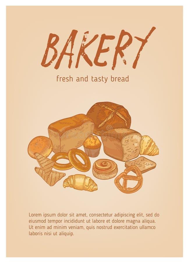 Шаблон летчика или плаката с разными видами свежего, вкусного хлеба, печенья или испеченных продуктов и места для текста иллюстрация штока