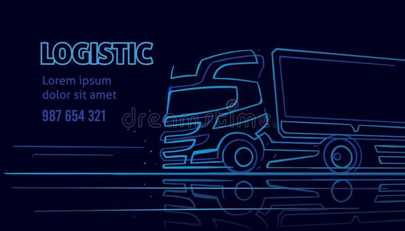 Шаблон логистических/водителя грузовика/доставки предприятия сферы обслуживания визитной карточки в неоновом стиле стоковые изображения