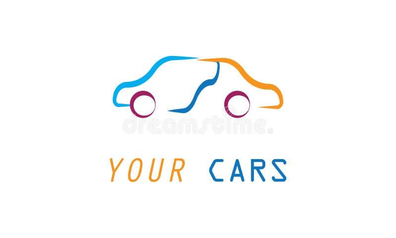 Шаблон логотипа автомобиля - автоматический логотип автомобиля для спортивных машин, ренты, мытья или механика иллюстрация штока