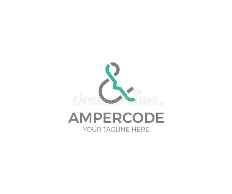 Шаблон логотипа амперсанда и кода Дизайн вектора писем иллюстрация штока