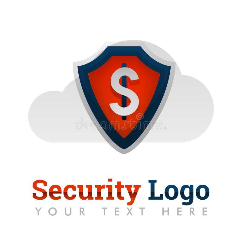 Шаблон логотипа безопасностью для финансов, банка, денег, доллара, облака, предохранения от безопасности, интернета, хранения, ст иллюстрация вектора