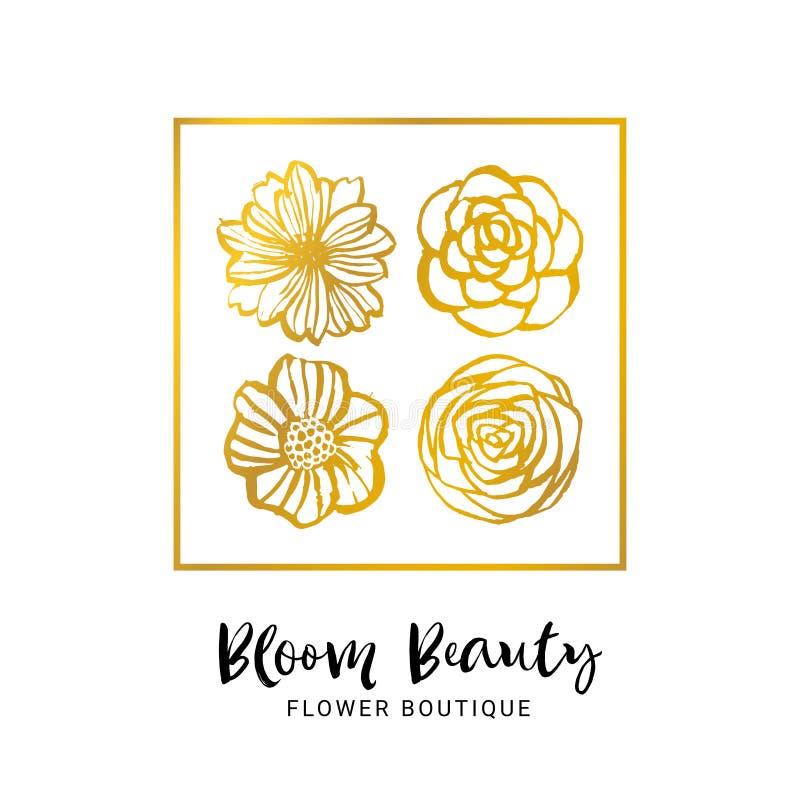 Шаблон логотипа бутика цветка Красота цветеня Флористическая карточка золота H иллюстрация вектора
