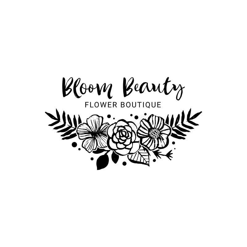 Шаблон логотипа бутика цветка Красота цветеня Флористический ботанический co иллюстрация штока