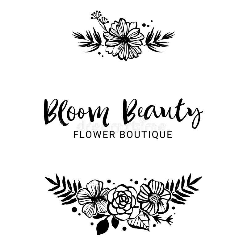 Шаблон логотипа бутика цветка Красота цветеня Флористический ботанический co иллюстрация вектора