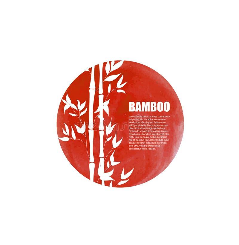Шаблон логотипа вектора восточный, красный круг и бамбуковые черенок, изолированный элемент дизайна иллюстрация вектора