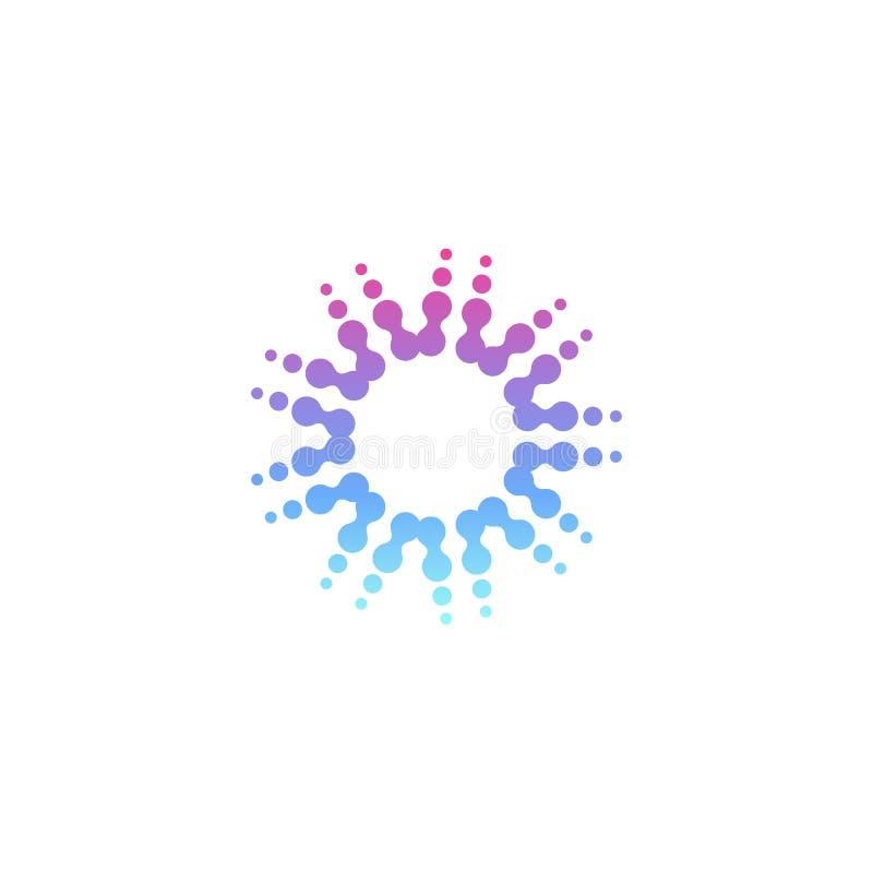 Шаблон логотипа вектора круга современный Значок поставленный точки полутоновым изображением Солнце излучает знак Кнопка новой те иллюстрация штока