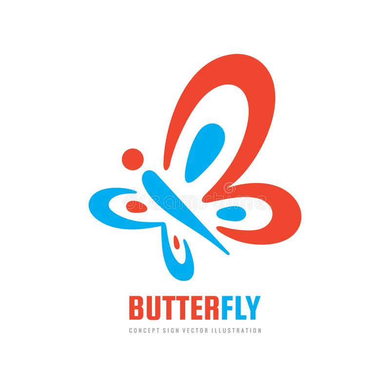 Шаблон логотипа вектора насекомого бабочки Салон красоты - иллюстрация знака творческая человеческий характер абстрактная икона в бесплатная иллюстрация