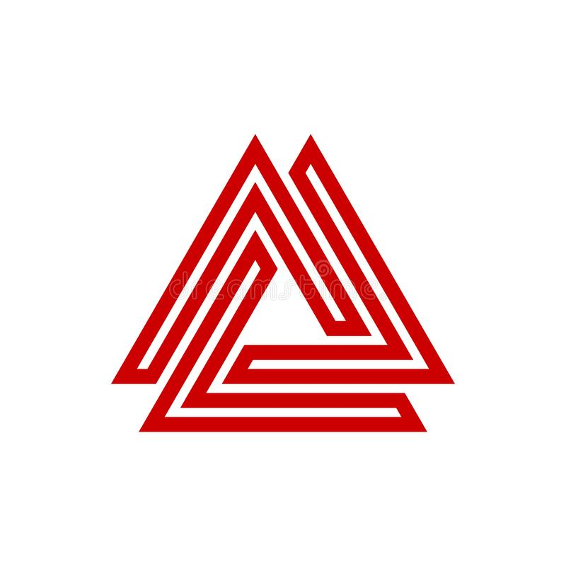 Шаблон логотипа вектора треугольника лабиринта иллюстрация штока