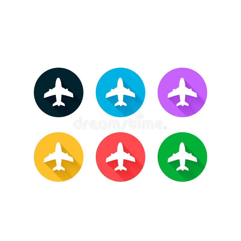 Шаблон логотипа дизайна вектора значков самолета установленный Предпосылка перемещения с воздушными судн и место для вашего текст бесплатная иллюстрация