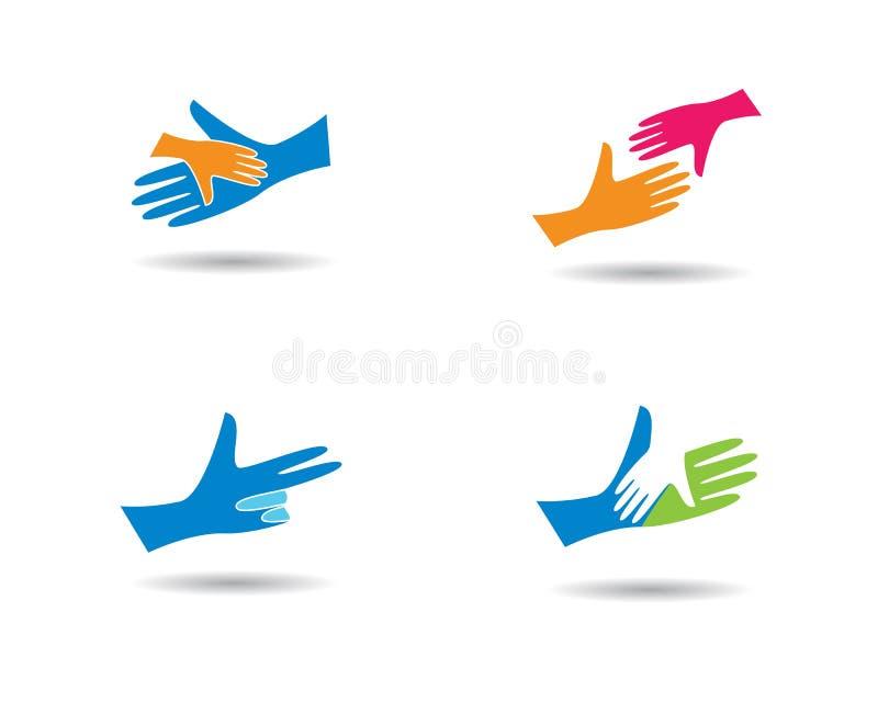 Шаблон логотипа заботы руки иллюстрация штока