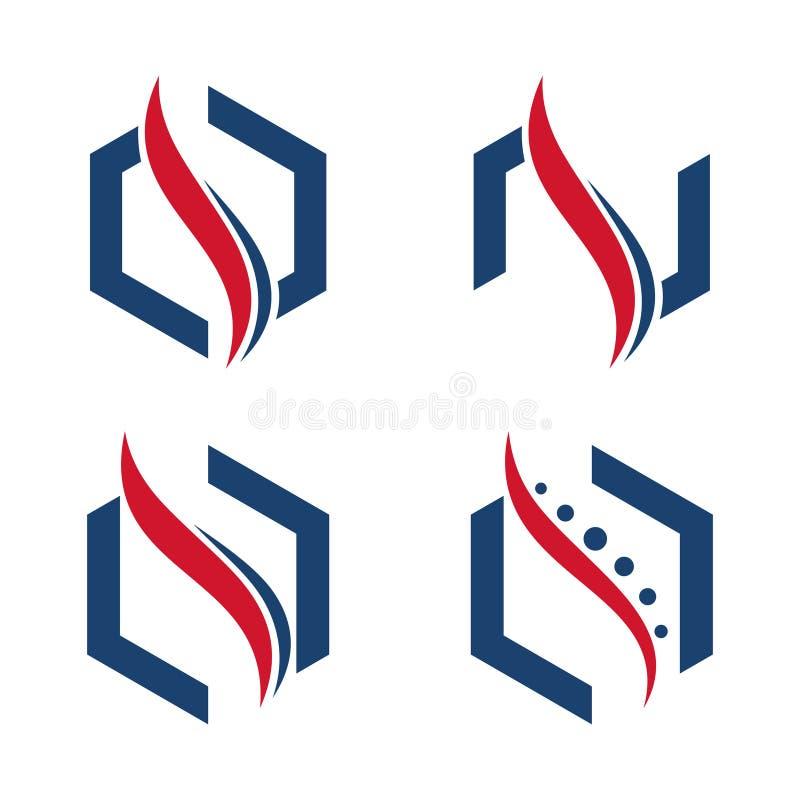 Шаблон логотипа здоровья шестиугольника хиропрактики позвоночника абстрактный бесплатная иллюстрация