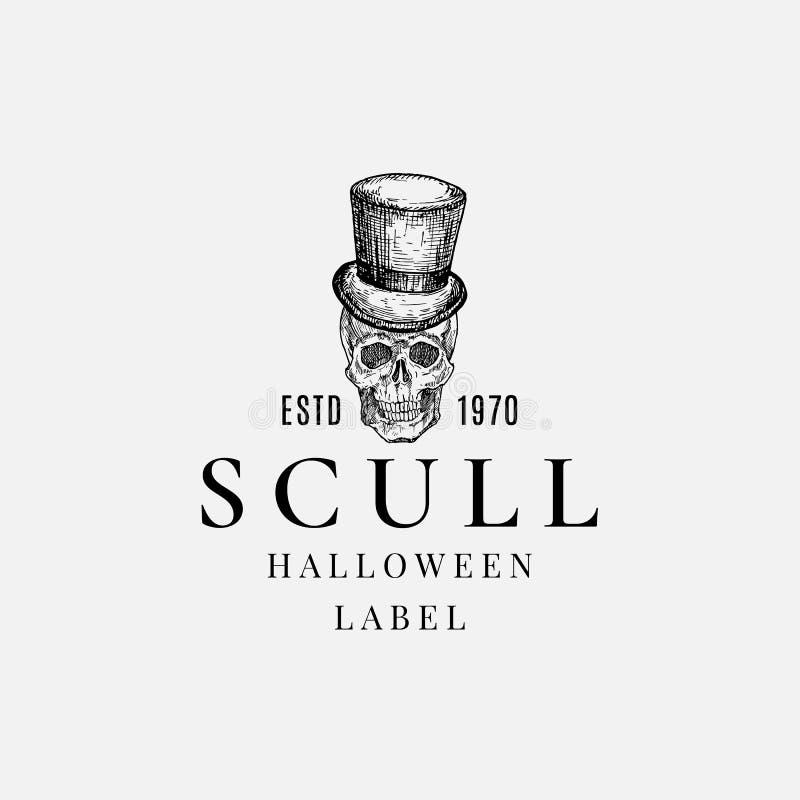 Шаблон логотипа или метки Premium Quality Halloween Рука Нарисовала Скалл в символе Cylinder Hat Sketch и ретрографии иллюстрация вектора