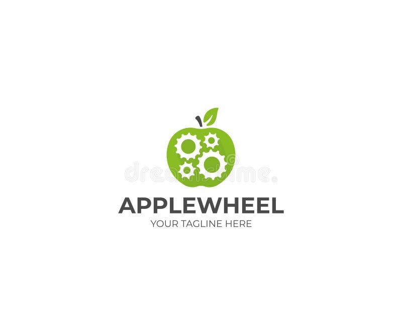 Шаблон логотипа колеса Яблока и шестерни Механизм шестерни в дизайне вектора плодоовощ яблока иллюстрация вектора