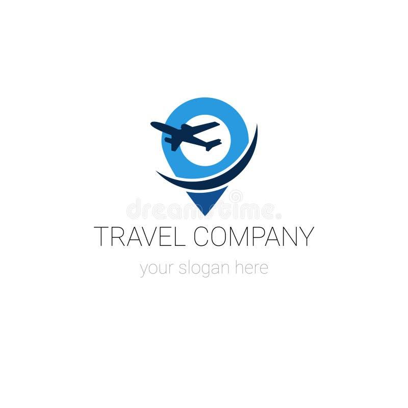 Шаблон логотипа компании перемещения изолированный на белом дизайне знамени агенства туризма предпосылки иллюстрация штока