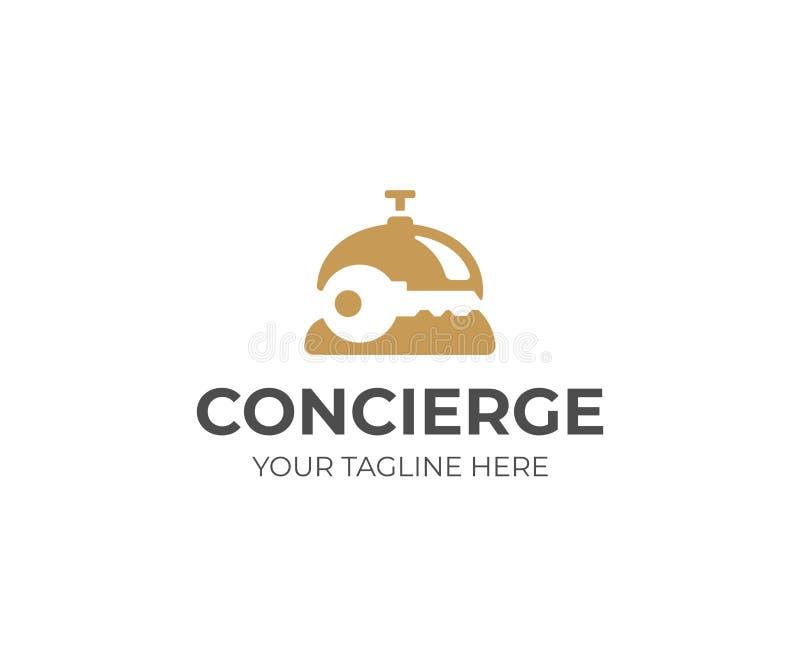 Шаблон логотипа консьерж-сервиса Колокол приема и дизайн вектора ключа иллюстрация вектора