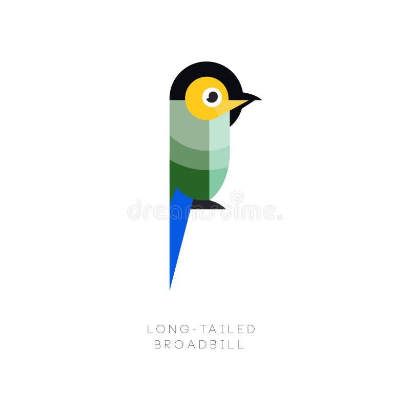 Шаблон логотипа красочного длинн-замкнутого broadbill Малая экзотическая птица сделанная от геометрических диаграмм Плоский дизай иллюстрация штока