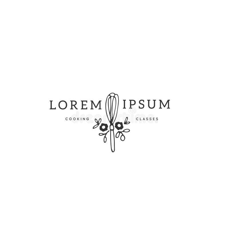 Шаблон логотипа кухни, венчик с цветками Объект вектора нарисованный рукой иллюстрация штока