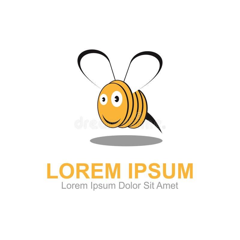 Шаблон логотипа монетки пчелы иллюстрация вектора