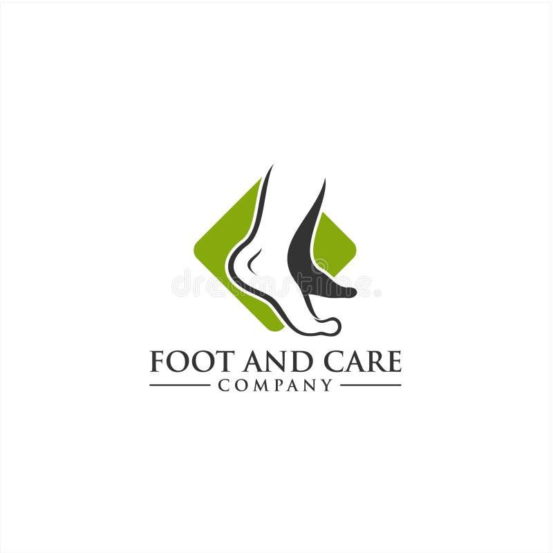 Шаблон логотипа ноги и значка заботы, здравоохранение ноги и лодыжки иллюстрация штока