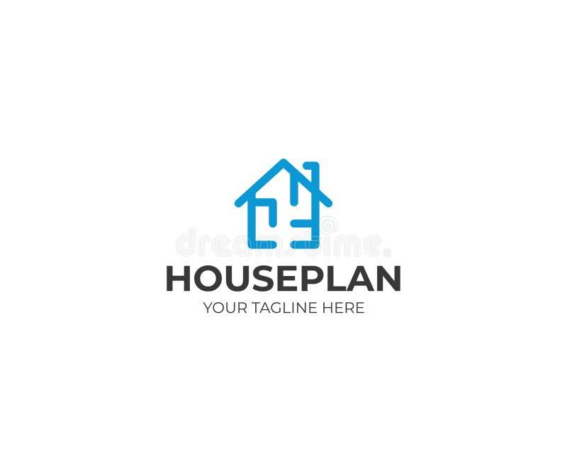 Шаблон логотипа плана дома Дизайн вектора Floorplan бесплатная иллюстрация