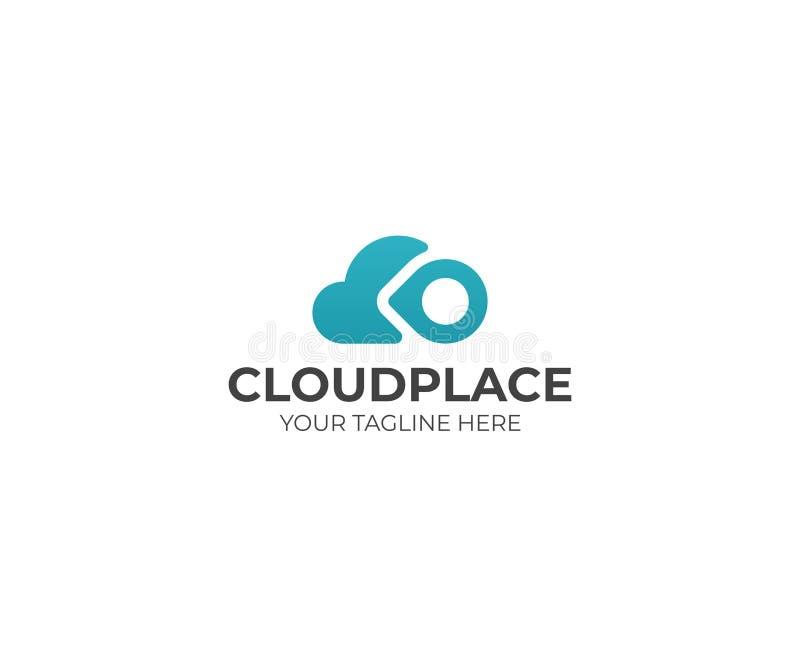 Шаблон логотипа пункта облака и штыря Дизайн вычислять облака и вектора знака положения иллюстрация вектора