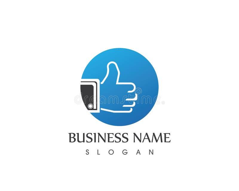 Шаблон логотипа руки большого пальца руки иллюстрация штока