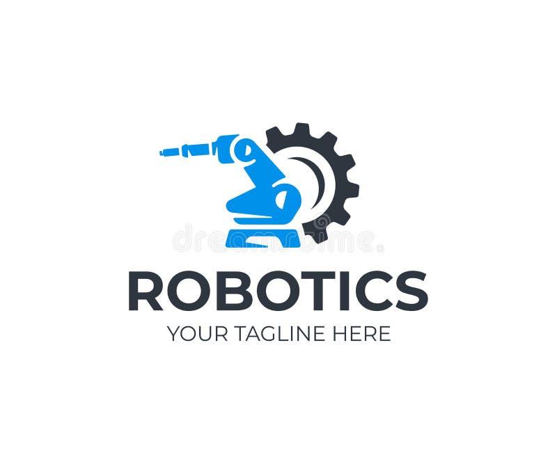 Шаблон логотипа руки робототехнического манипулятора Регулировать дизайн вектора робота иллюстрация вектора
