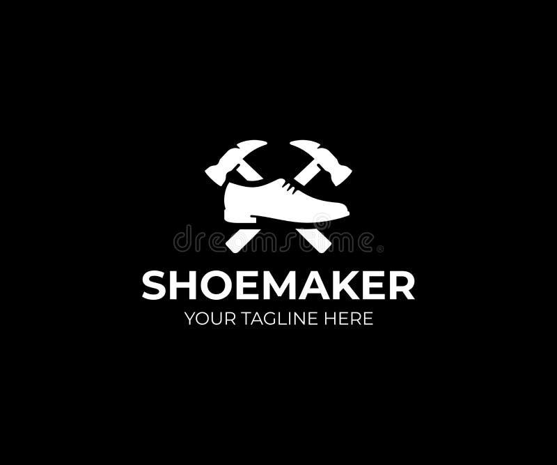 Шаблон логотипа сапожника Дизайн вектора ремонта ботинка иллюстрация вектора