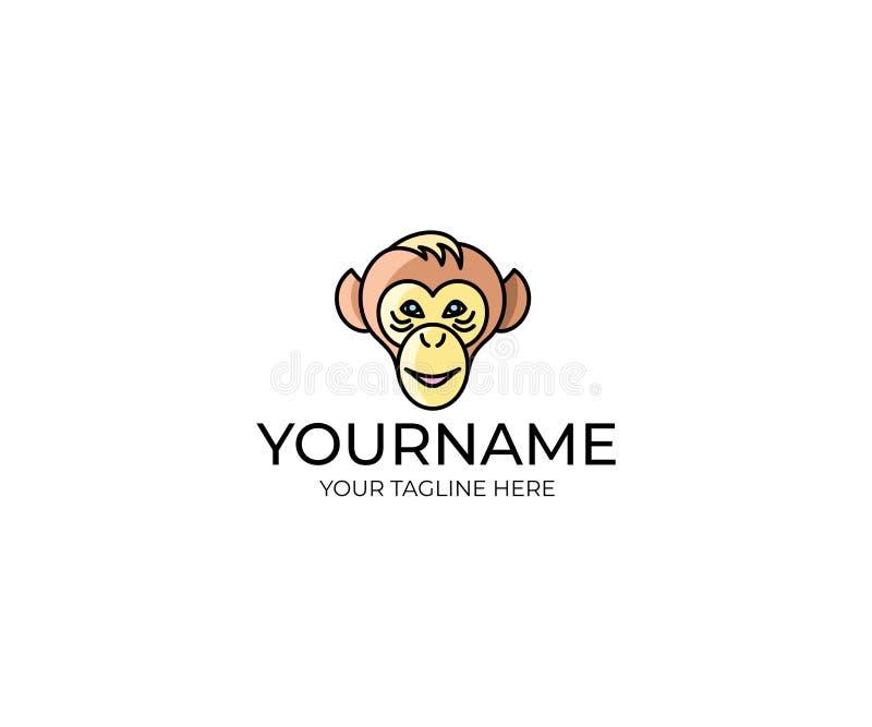 Шаблон логотипа стороны обезьяны Дизайн вектора шимпанзе бесплатная иллюстрация