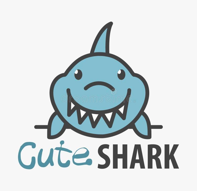 Шаблон логотипа с милой акулой Шаблон дизайна логотипа вектора для aqua или аквапарк Логотип рыб океана мультфильма иллюстрация вектора