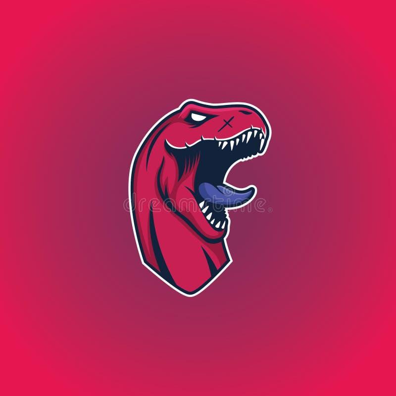 Шаблон логотипа талисмана динозавра T-Rex главный иллюстрация штока