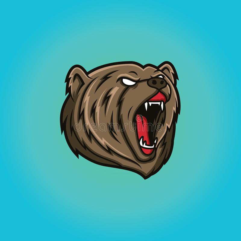 Шаблон логотипа талисмана медведя главный иллюстрация штока