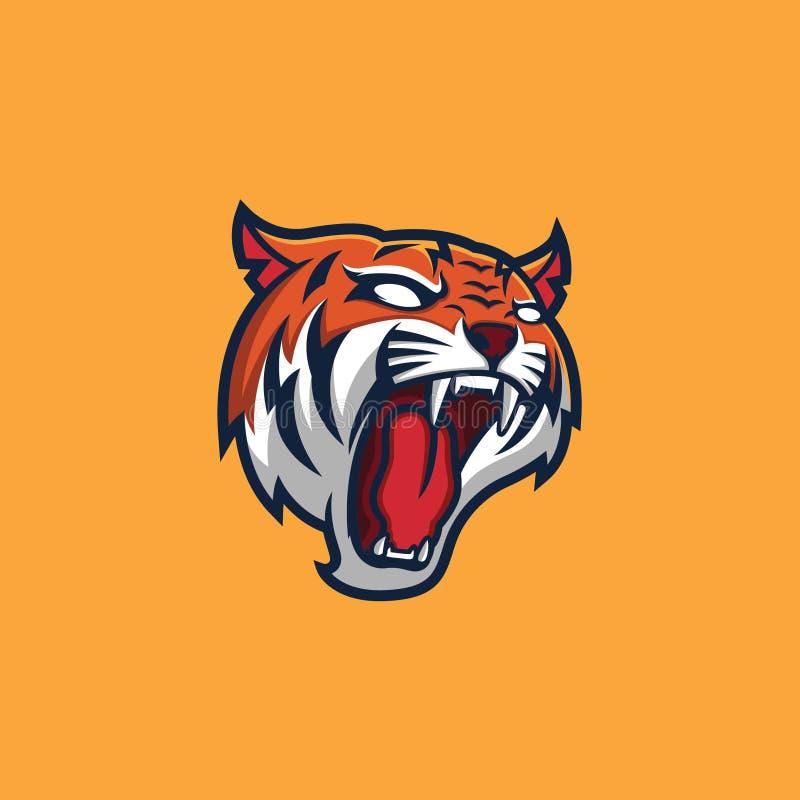 Шаблон логотипа талисмана тигра главный иллюстрация вектора
