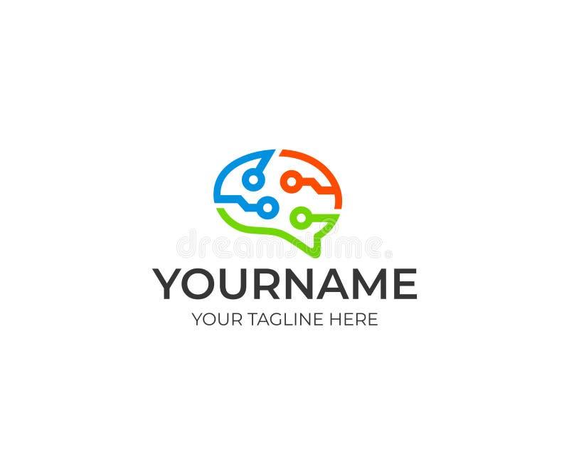 Шаблон логотипа технологии цепи мозга красочный Искусственный интеллект и думая дизайн вектора концепции мозга иллюстрация вектора