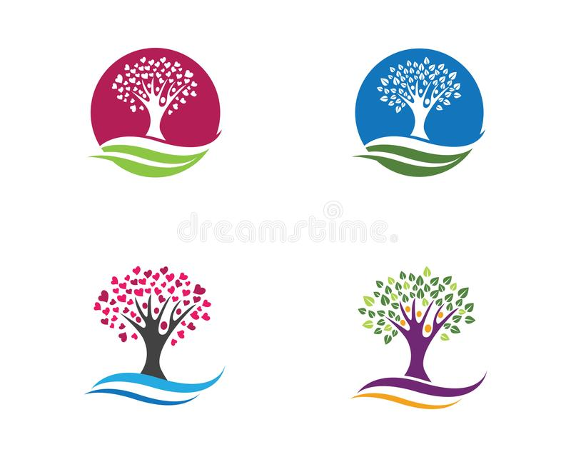 Шаблон логотипа фамильного дерев дерева иллюстрация вектора