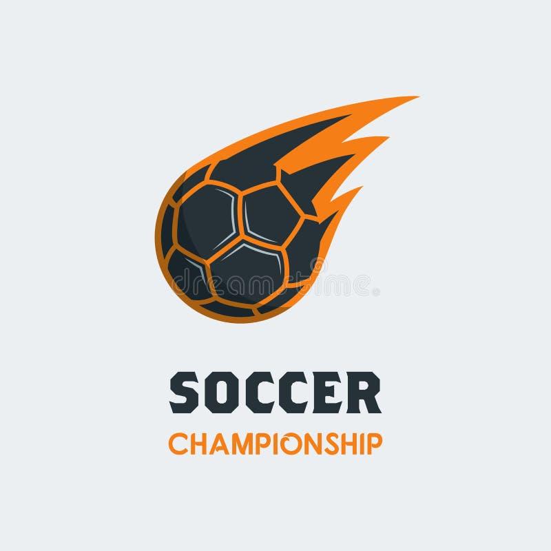 Шаблон логотипа футбола футбола Современная эмблема шарика спорта с Swo иллюстрация штока