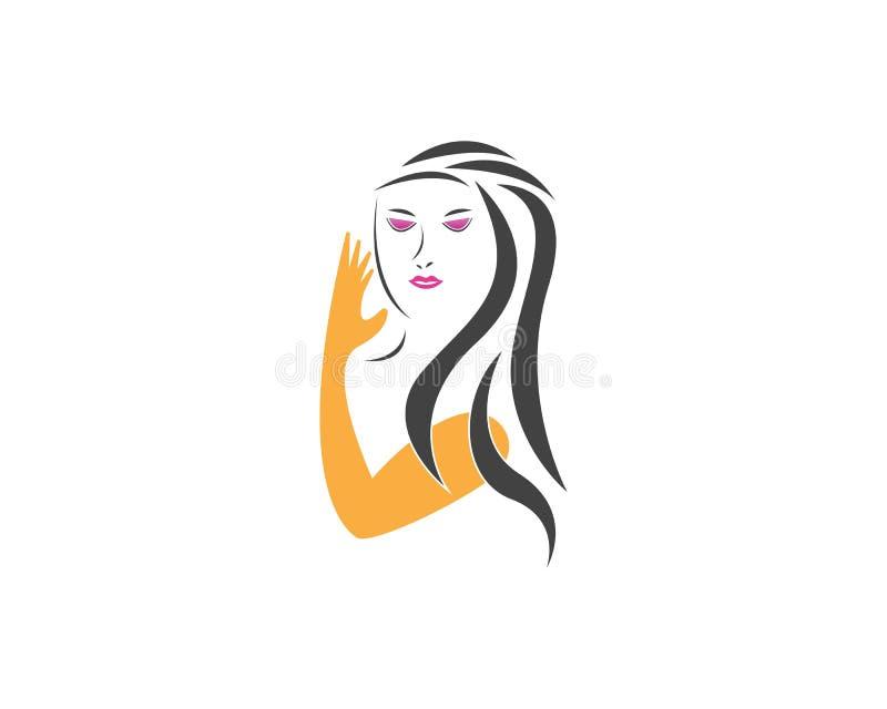 Шаблон логотипа характера силуэта стороны женщин красоты иллюстрация штока