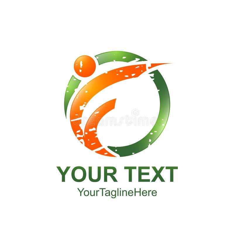 Шаблон логотипа f начального письма покрасил оранжевого зеленого человека d круга иллюстрация вектора