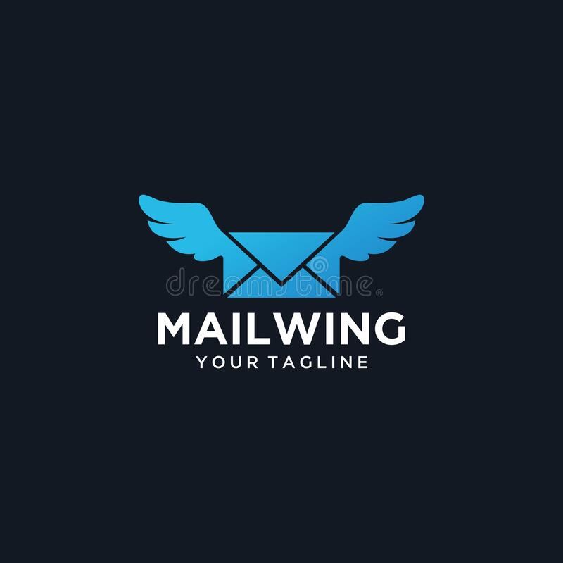 Шаблон логотипа Wing end email Premium Vector бесплатная иллюстрация