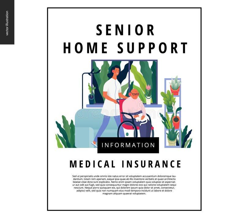Шаблон медицинского страхования - старшая домашняя поддержка иллюстрация вектора